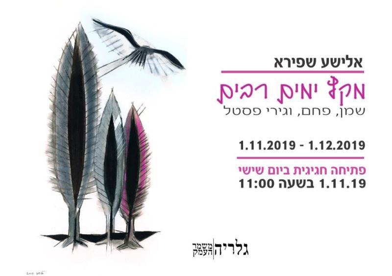 הזמנה לתערוכה ``מקץ ימים רבים, של אלישע שפירא בגלריה במשמר העמק``